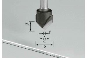 Festool Freză de canelat in forma de V HW S8 D18-90°/Alu1