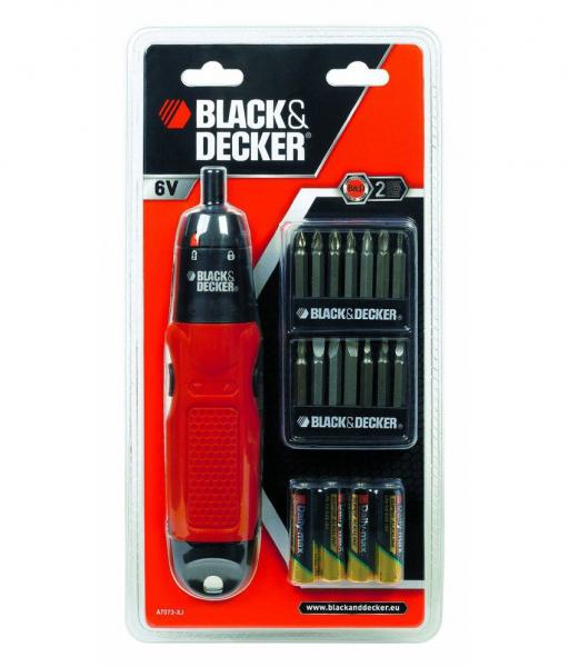 Masina de insurubat (surubelnita electrica) cu baterii Black & Decker A7073, 6 V, 130 rpm, 2.9 Nm, cu set 14 biti [1]