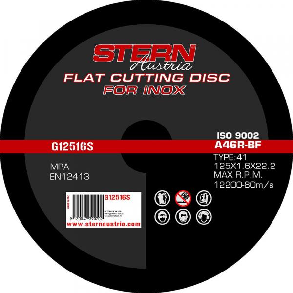 Disc polizor unghiular Stern G12516S, 125mm, 1.6mm, metal-inox, Set 10 bucati 0