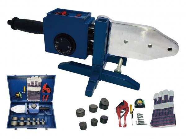 Set lipit tevi polipropilena Stern PPW2000C, plita 2000W, 6 bacuri 20-63mm, foarfeca tevi polipropilena 0