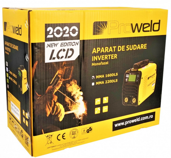 Aparat de sudura invertor ProWELD MMA160LCD, 10-160A, 5.5KvA, MMA/LiftTIG, electrozi 2.5mm-4mm, bazici/rutilici/supertit 4