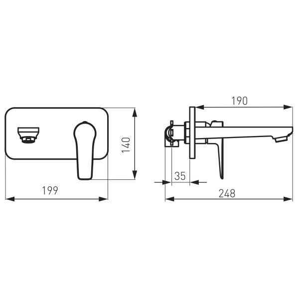 Baterie ingropata lavoar FERRO Adore BDR3PABLC, negru/crom 1
