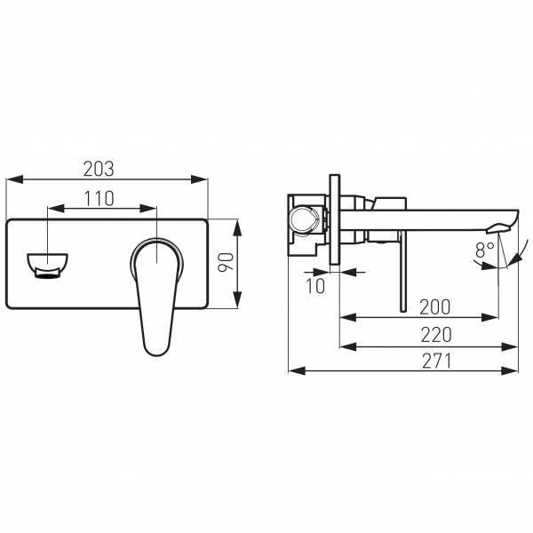 Baterie ingropata lavoar FERRO Algeo BAG3PA22, crom cu pipa 22 cm 1