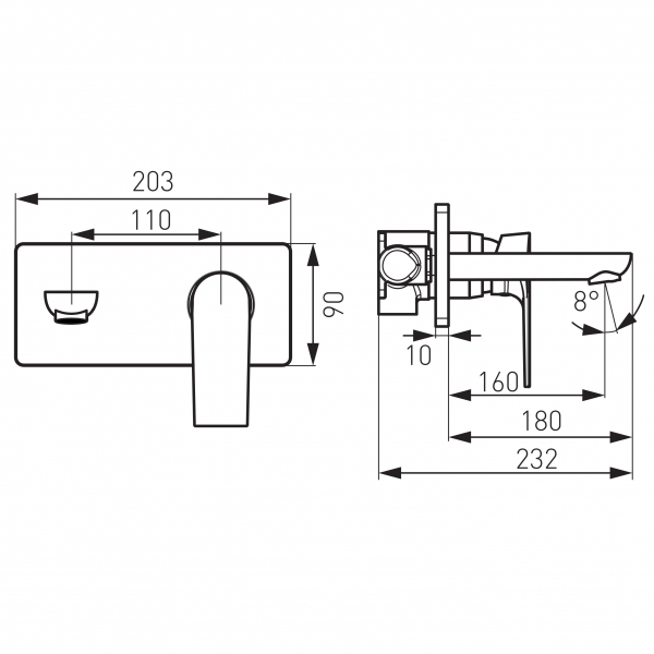 Baterie ingropata lavoar FERRO Square BAQ3PA18, crom cu pipa 18 cm 2