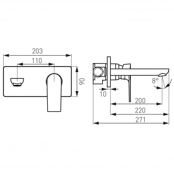 Baterie ingropata lavoar FERRO Square BAQ3PA22, crom cu pipa 22 cm 1