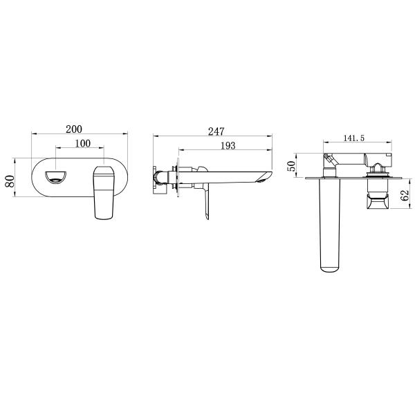 Baterie ingropata lavoar FERRO Tina 38200.0, crom 1