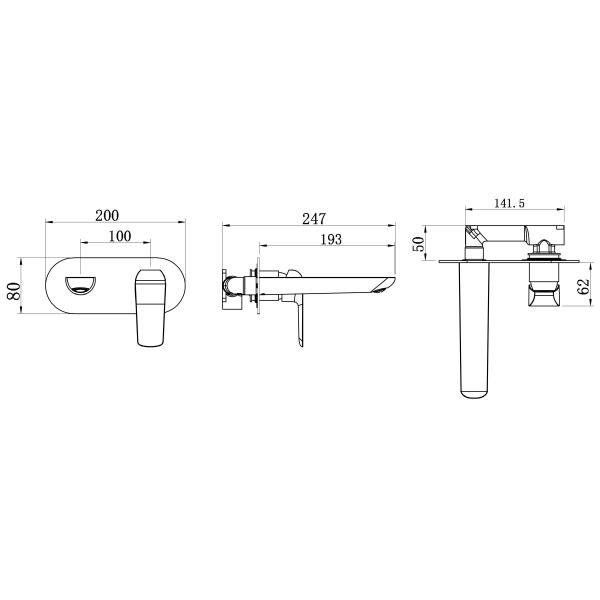 Baterie ingropata lavoar FERRO Tina 38200.1, alb/crom 1