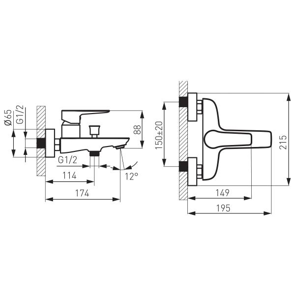 Baterie perete cada/dus FERRO Adore BDR1BLC, negru/crom fara accesorii 1