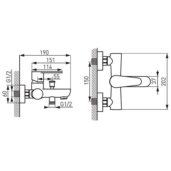 Baterie perete cada/dus FERRO Algeo BAG1BL, negru fara accesorii 1
