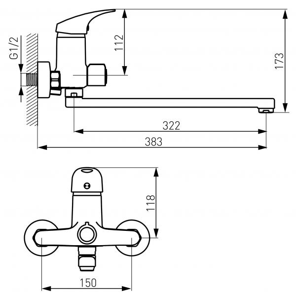 Baterie perete cada/dus FERRO Combo BCM5A, crom cu pipa mobila  L= 350 mm 1