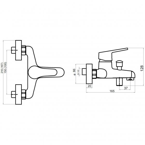 Baterie perete cada/dus FERRO Iris New 94420/1.0, crom fara accesorii 1
