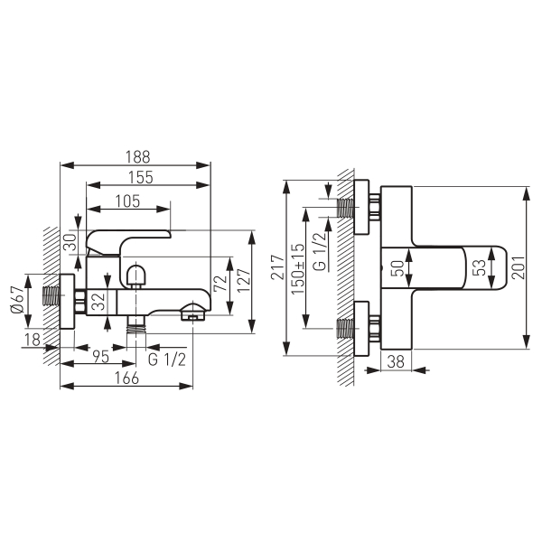 Baterie perete cada/dus FERRO Kvadro 35020/1.0, crom fara accesorii 1