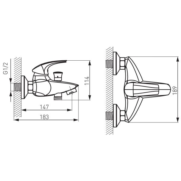 Baterie perete cada/dus FERRO Metalia 57 57020/1.0, crom fara accesorii 1