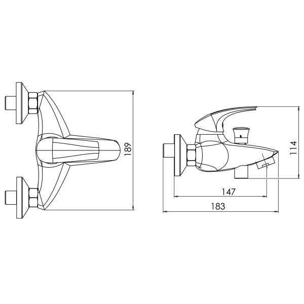 Baterie perete cada/dus FERRO Metalia 57 57020/1.1, alb/crom fara accesorii 1