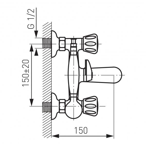 Baterie perete cada/dus FERRO Standard BST11, crom cu accesorii 1