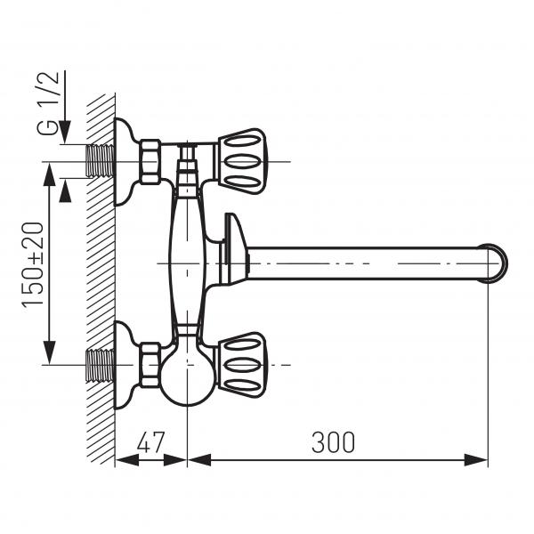 Baterie perete cada/dus FERRO Standard BST11A, crom cu pipa mobila si accesorii 1