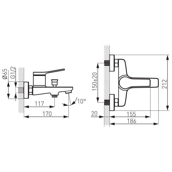 Baterie perete cada/dus FERRO Stratos BSC1BL, negru fara accesorii 1