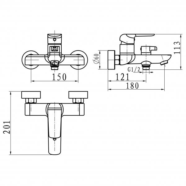 Baterie perete cada/dus FERRO Tina 38020/1.1, alb/crom fara accesorii 1