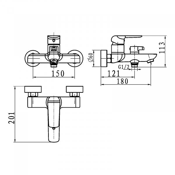 Baterie perete cada/dus FERRO Tina 38020/1.5, negru/crom fara accesorii 1