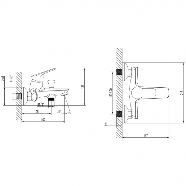 Baterie perete cada/dus FERRO Toscana BTA1, crom fara accesorii 1
