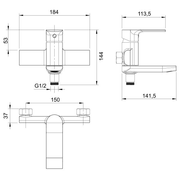 Baterie perete cada/dus FERRO Trend 41022/1.0, crom cu pipa mobila 1