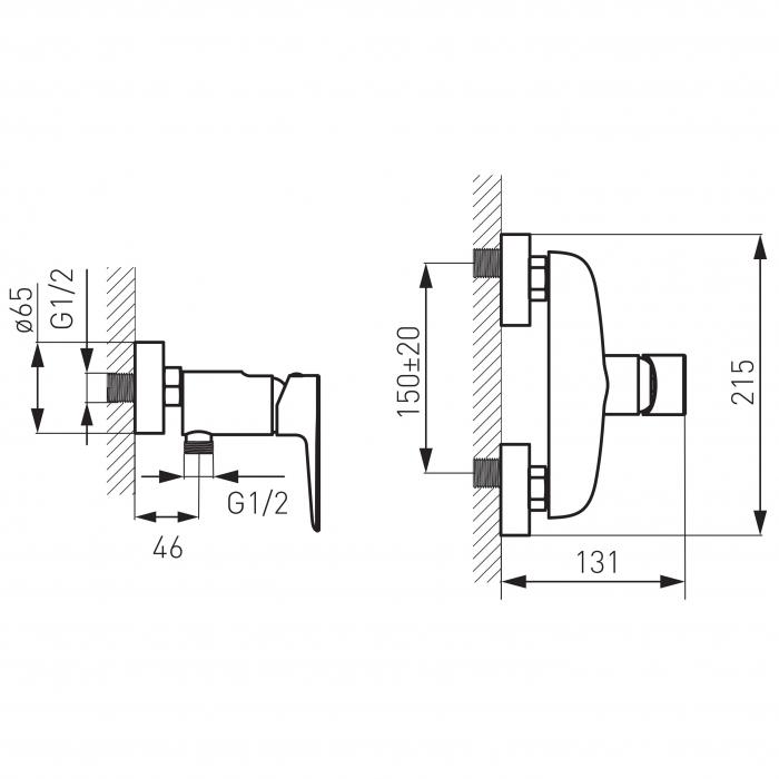 Baterie perete dus FERRO Adore BDR7, alb/crom fara accesorii 1
