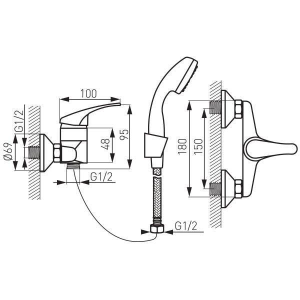 Baterie perete dus FERRO Basic BBC77, crom cu accesorii 1
