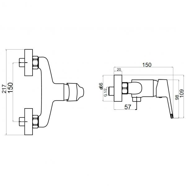 Baterie perete dus FERRO Iris New 94461/1.0, crom fara accesorii 1