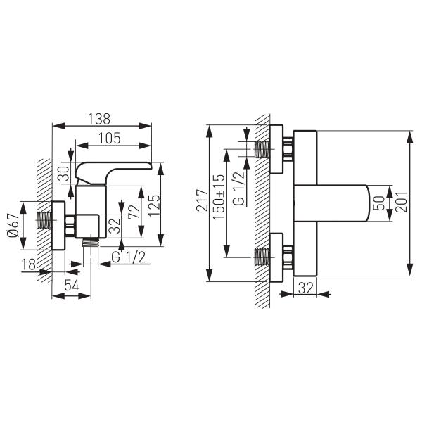 Baterie perete dus FERRO Kvadro 35060/1.0, crom fara accesorii 1