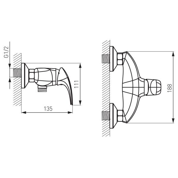 Baterie perete dus FERRO Metalia 57 57060/1.0, crom fara accesorii 1