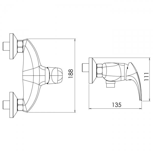 Baterie perete dus FERRO Metalia 57 57060/1.1, alb/crom fara accesorii 1