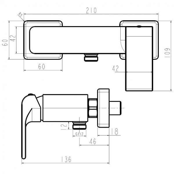 Baterie perete dus FERRO Sharp 37061/1.0, crom fara accesorii 1