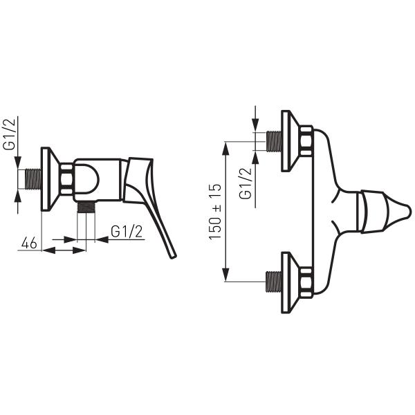 Baterie perete dus FERRO Stillo BSL7, crom fara accesorii 1