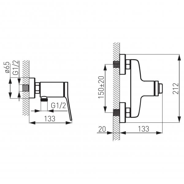 Baterie perete dus FERRO Stratos BSC7, crom fara accesorii 1