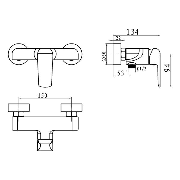 Baterie perete dus FERRO Tina 38061/1.5, negru/crom fara accesorii 1