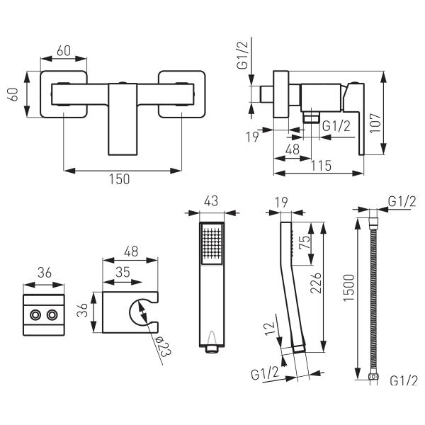Baterie perete dus FERRO Zicco BZI77, crom cu accesorii 1