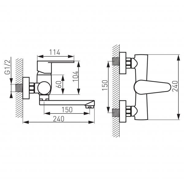 Baterie perete lavoar/spalator FERRO Algeo BAG3, crom 1
