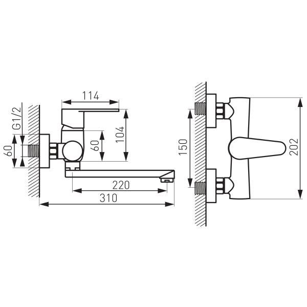 Baterie perete lavoar/spalator FERRO Algeo BAG5, crom 1