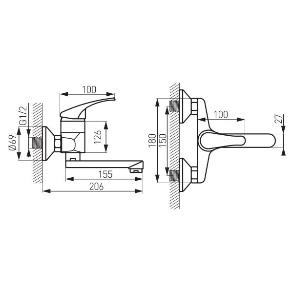 Baterie perete lavoar/spalator FERRO Basic BBC3, crom 1