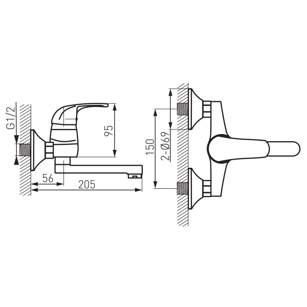 Baterie perete lavoar/spalator FERRO Vasto BVA3, crom 1