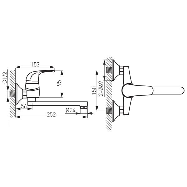 Baterie perete lavoar/spalator FERRO Vasto BVA5, crom 1