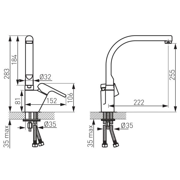 Baterie spalator FERRO Kvadro 35713.0, crom cu pipa inalta 1