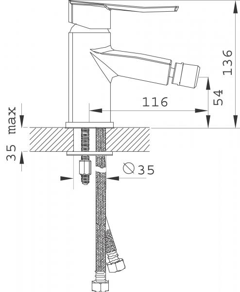Baterie stativa bideu FERRO Florence VerdeLine BFL6VL, crom cu ventil 1