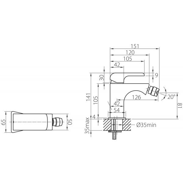 Baterie stativa bideu FERRO Kvadro 35011.0, crom cu ventil 1