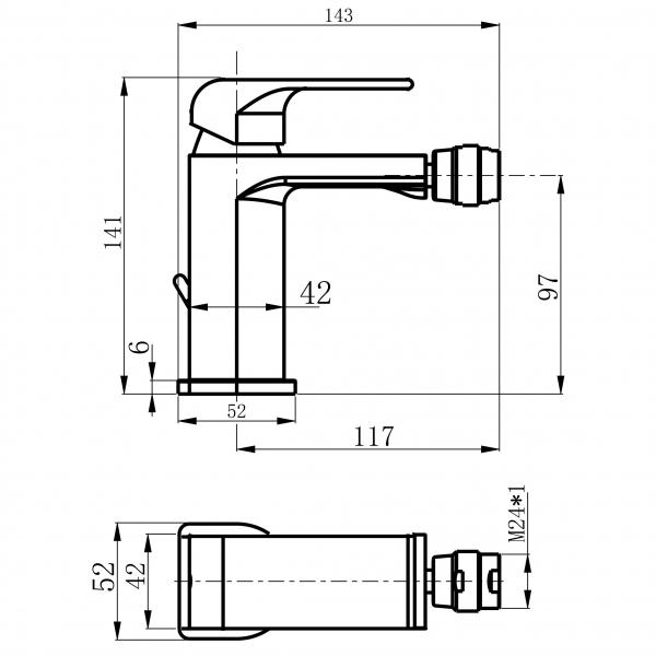 Baterie stativa bideu FERRO Sharp 37011.0, crom cu ventil 1