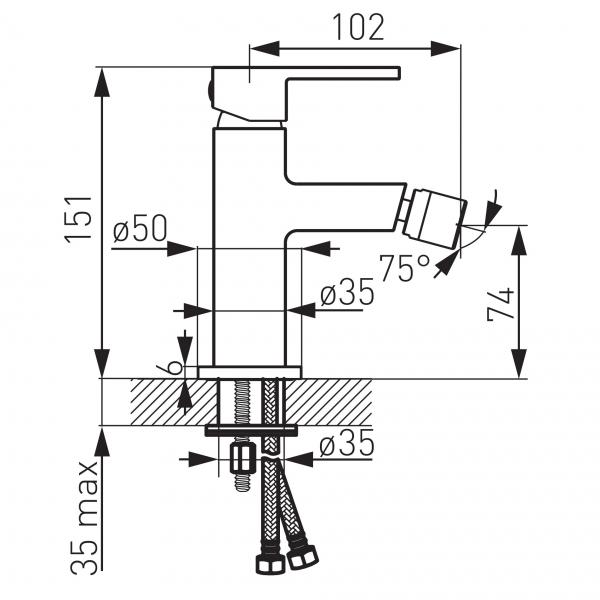 Baterie stativa bideu FERRO Zicco BZI6, crom cu ventil 1