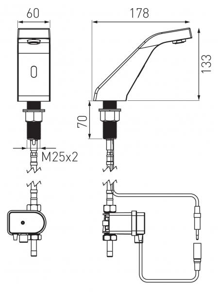Baterie stativa lavoar cu senzor FERRO Sirocco BBB101, crom 1