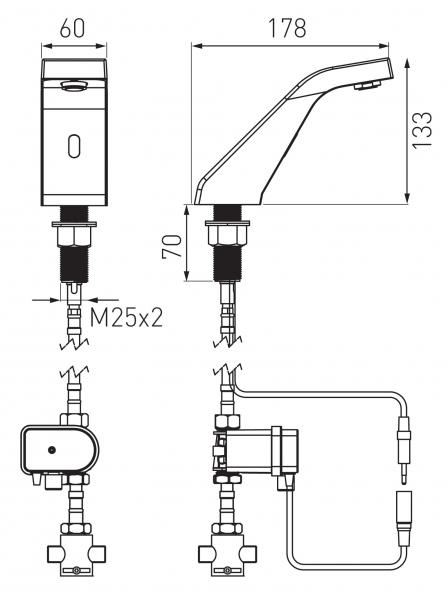 "Baterie stativa lavoar cu senzor FERRO Sirocco BBB101M, crom cu mixer mecanic 3/8"" 1"