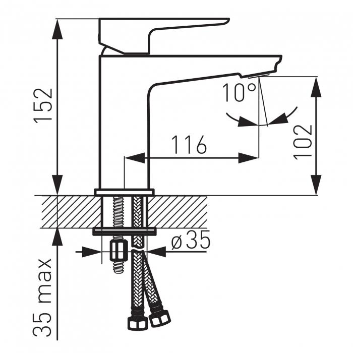 Baterie stativa lavoar FERRO Adore BDR2, alb/crom cu ventil 1