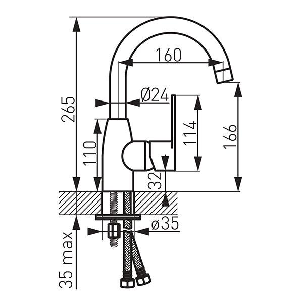 Baterie stativa lavoar FERRO Algeo BAG2ABL, negru cu pipa mobila inalta 1